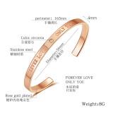 Fashion All-match C- Shaped Stainless Steel Rose Gold Bracelet Women's Bracelet Bangles Lover Gift Ornament Gb968