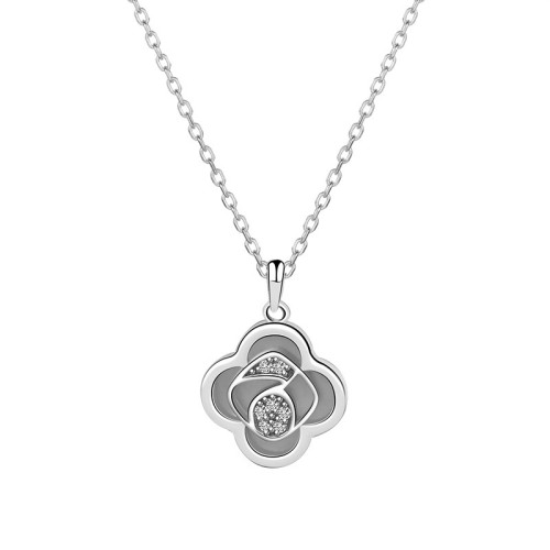 925 Sterling Silver Clover of Four Leaves Necklace Female Ins Fashion Ol Korean Creative Necklace Silver Accessories Mla1913