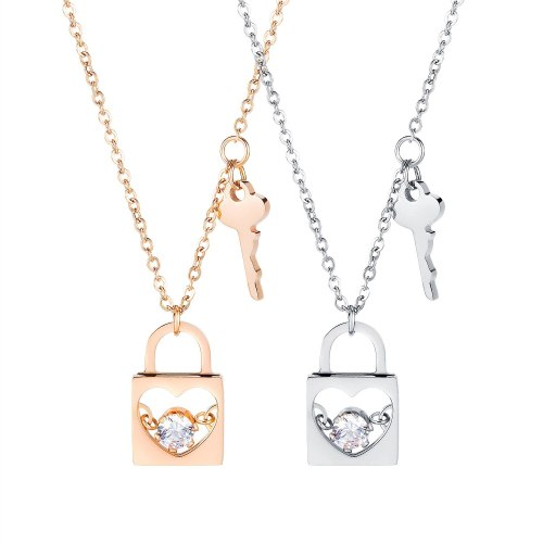2020 New Fashion Couple Key Lock Chain Necklace Rose Gold Titanium Ornament Valentine's Day Gift Necklace Jewlery Gb1676