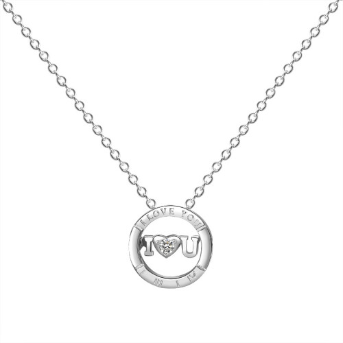 925 Sterling Silver L Love You Lovely Zircon Necklace Female Korean Popular Simple Ornament Chunky Necklace MlA1935