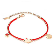 National Style Hand Jewelry Lucky Year of the Rat Woven Red Rope Double-Layer Bracelet Lucky Women Bracelet Gift Gb014
