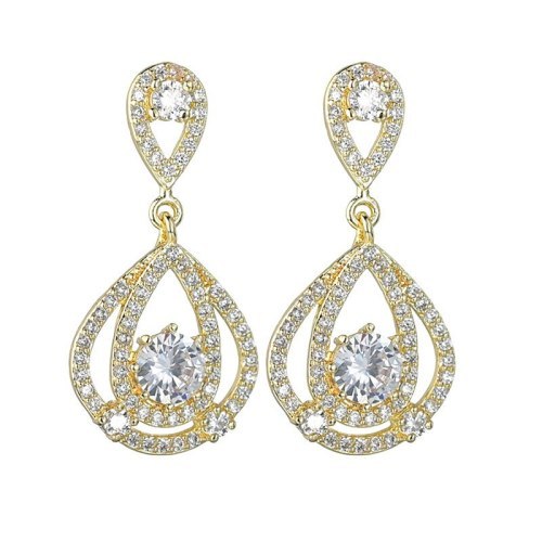 New Korean Fashion Long Stud earrings AAA Zircon Inlaid S925 Silver Needle Drop Earring High-End Girl Qx1458