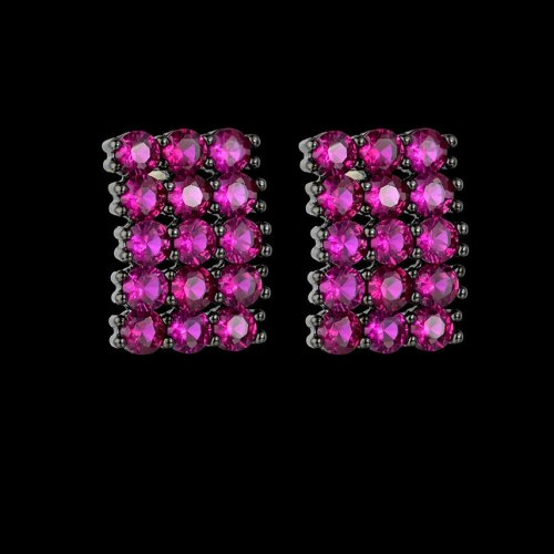 Simple AAA Zircon Full Diamond Ear Stud Nickel-Free Real Gold Ornament Accessories Factory Supply Wholesale Qx1083