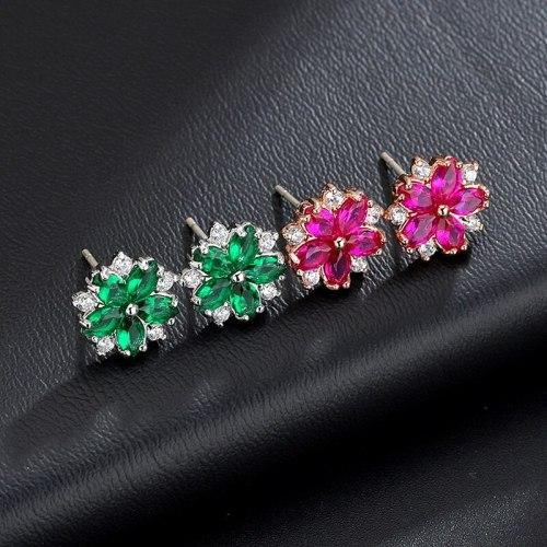 Flower Ear Stud Sterling Silver Needle Copper Inlaid AAA Powder Zirconium Korean Style Simple Ear Stud Sweet Qx1030