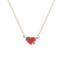 925 Sterling Silver New Red Agate Heart Necklace Red Women's Lovely Necklace Mla1574