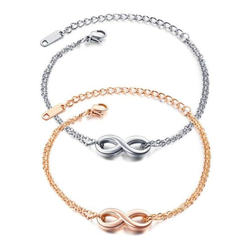 South Korea Simple Fashion Endless 8-Character Hand Jewelry Titanium Steel Rose Gold Bracelet Female Bangle Gb1033
