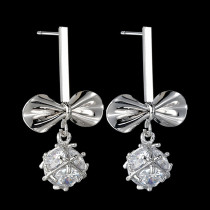 Bow Earrings Sweet AAA Zircon Inlaid Ear Pendant 925 Sterling Silver Ear Stud Qx1436