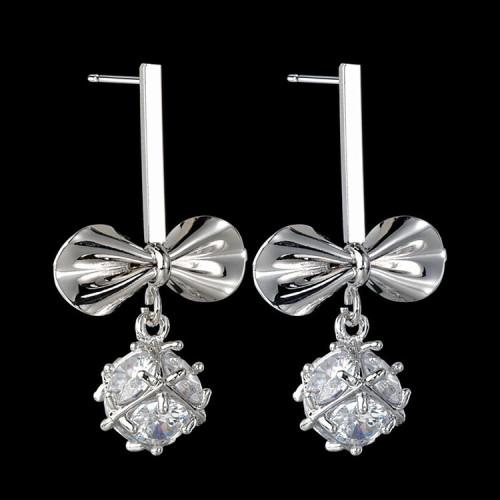 Bow Earrings Sweet AAA Zircon Inlaid Ear Pendant 925 Sterling Silver Ear Stud Qx1436