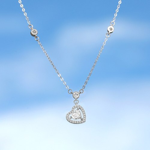 925 Sterling Silver 2020 New Zircon Love Necklace Korean Popular Mla1986