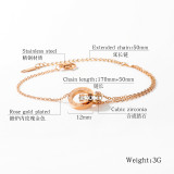Korean Fashion Titanium Steel Double Ring Roman Numeral Bracelet Female Simple Rose Gold Bracelet Ornament Gb1070