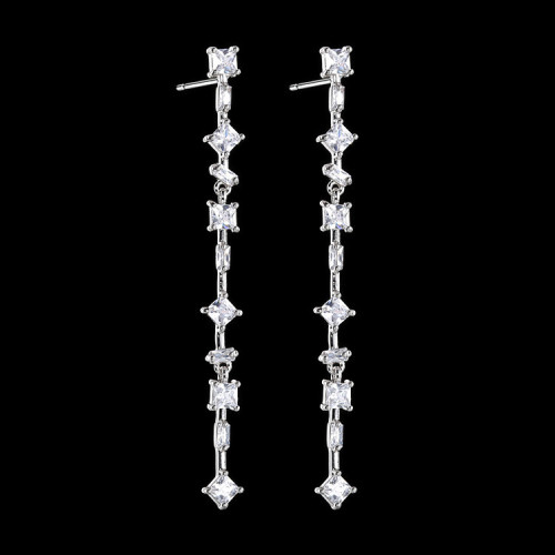 Happy Tentacles Earrings AAA Zircon Inlaid Long Earrings S925 Sterling Silver Earring Pin Geometric  New Style Qx1411