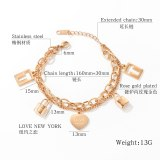 Korean Ins Female Student Hand Jewelry Titanium Steel Double Layer Design Heart Lock Lovely Bracelet Girlfriends Ornament Gb1078