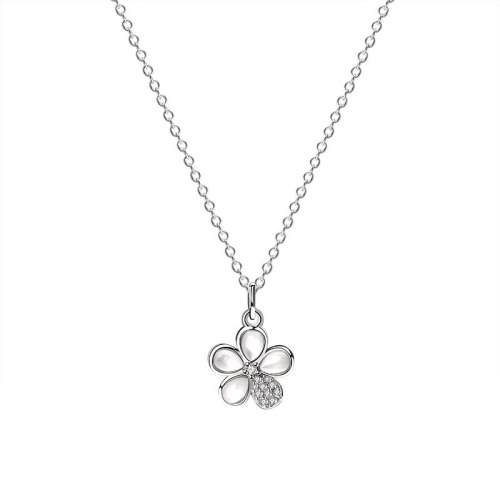 925 Sterling Silver Korean Popular Zircon Flower Necklace Female Ins Necklace Mla1938
