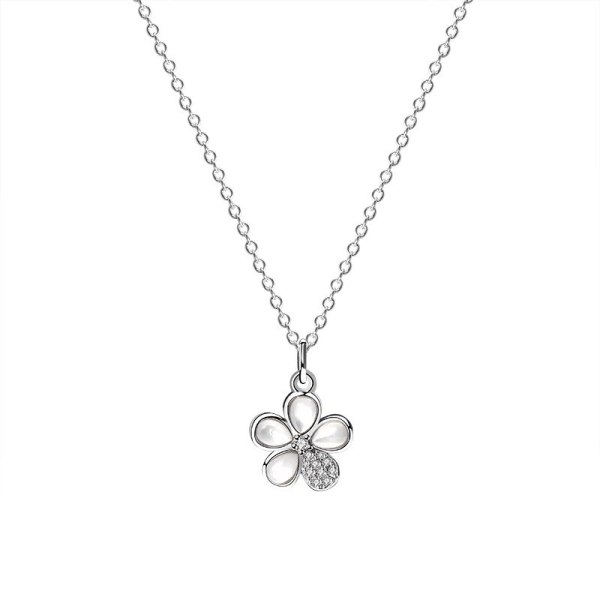 925 Sterling Silver Korean Popular Zircon Flower Necklace Female Ins Necklace Mla1938