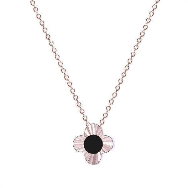 925 Sterling Silver Ornament Female Korean Lucky Clover of Four Leaves Necklace Black Shell Custom MlA1636