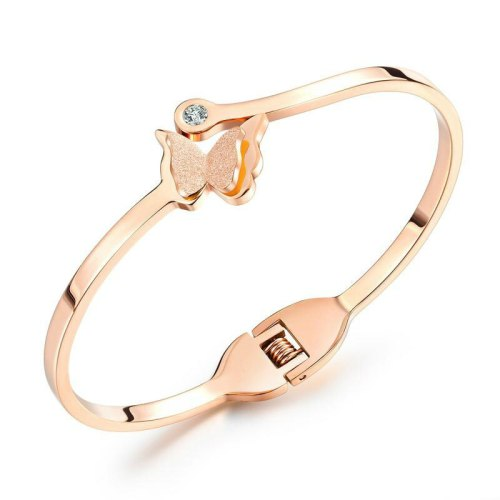 Ornament Wholesale Plated Rose Gold Lady Bracelet Titanium Steel Frosted Butterfly Opening Women Bracelet Bangle Gb962