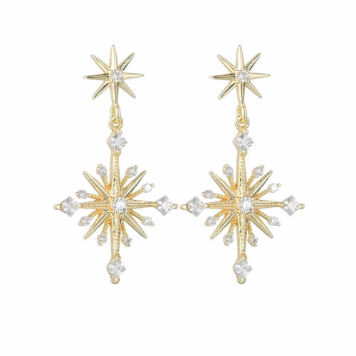 Star Ear Stud AAA Zircon Inlaid Gold-Plated Female Fashion Elegant Earrings Qx1551