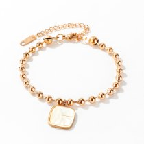 European and American Women's New round Bead Titanium Steel Pearl Oysters Bracelet Cool Square Ornament Wholesale Gb1073