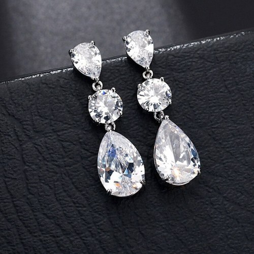 Water Drop Zircon Earrings Simple Girls Elegant Fashion Copper Inlaid Platinum Qx1177