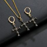 Cross Earrings AAA Zircon Inlaid Gold-Plated earrings Luxury Earrings QxP055