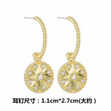 925 Silver Needle Korean Style Elegant round Ear Stud Ear Pendant AAA Zircon earrings Gift Qx1459