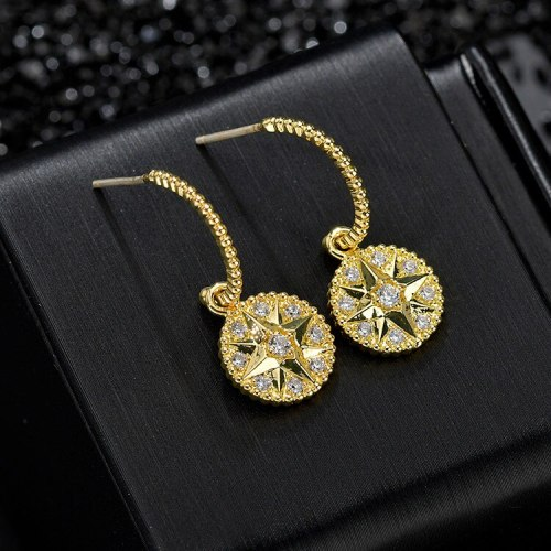 925 Silver Needle Korean Style Elegant round Ear Stud Ear Pendant AAA Zircon earrings Gift Qx1459