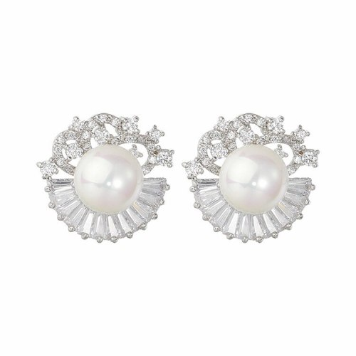 Pearl Ear Stud Fashion AAA Zircon Inlaid Ear Stud Elegant Flower Pearl Ear Stud Qx1419