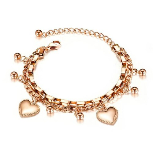 Fashion Ornament Multilayer Stainless Steel Bracelet Female Ball Heart Titanium Steel Women Bracelet Hand Jewelry Gb1038