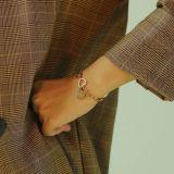 Fashion Korean Style New Letter D Heart Titanium Steel Bracelet Popular Gear Ornament Bracelets for Women Gb1076