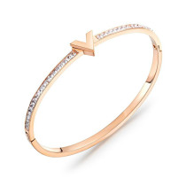 Fashion Bracelets Bangles Letter V Bracelet Titanium Steel Plated Rose Gold Women Bracelet Jewelry Gift Gb963