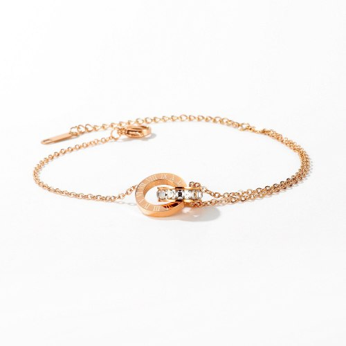 Korean Fashion Titanium Steel Double Ring Roman Numeral Bracelet Female Simple Rose Gold Bracelet Ornament Gb1070