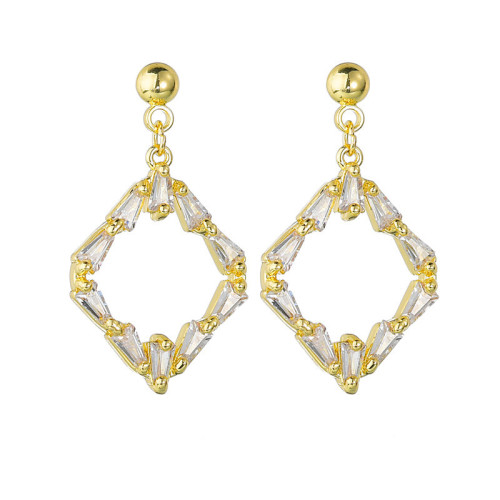 Korean-Style Zircon Stud Earrings Electroplated 14K Gold Girl's S925 Sterling Silver Pin Geometric Stud Earings Gift Qx1389