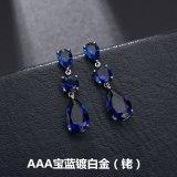 Water Drop Zircon Earrings Simple Girls Elegant Fashion Copper Inlaid Platinum Qx1177