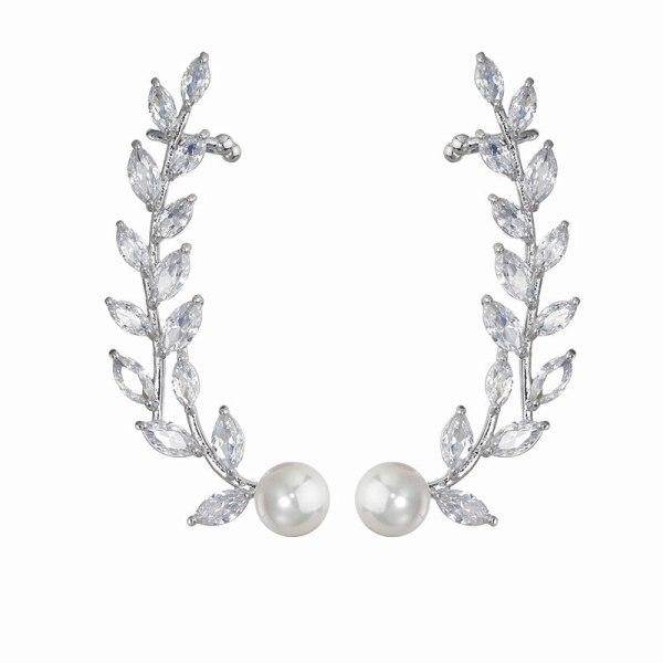 Willow Earrings AAA Zircon Wings Pearl Ear Stud S925 Sterling Silver Pin Fashion Ol Elegant Ladies Ear Stud Qx1449