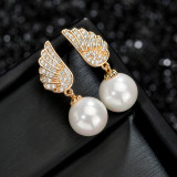 925 Sterling Silver Needle Pearl Earrings AAA Zircon Korean Fashion Angel's Wings Ear Stud Earrings Manufacturers Qx1138