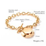 European and American Hot Selling Stainless Steel Heart Hand Jewelry OT Clip Lovely Lady Women Titanium Steel Bracelet Gb1085