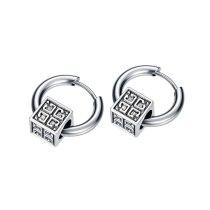 Fashion Men's Titanium Steel Earrings Wholesale Creative Style Hot Hip-hop Street Simple Square Ear Stud Men Earring Gb596