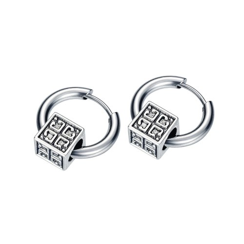 Fashion Men's Titanium Steel Earrings Wholesale Creative Style Hot Hip-hop Street Simple Square Ear Stud Men Earring Gb596