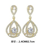New Korean Fashion Long Stud earrings AAA Zircon Inlaid S925 Silver Needle Drop Earring High-End Girl Qx1458