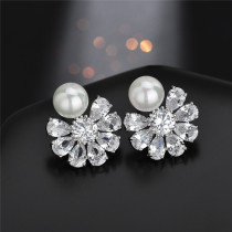 Flower Fashion EarStud AAA Zircon Pearl Inlaid Ear Stud Exquisite Earrings Factory Direct Qx1159