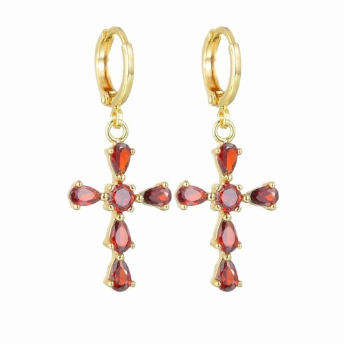 Cross Earrings AAA Zircon Inlaid Gold-Plated earrings Luxury Earrings QxP055