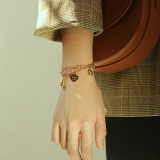 Korean Ins Female Student Hand Jewelry Titanium Steel Double Layer Design Heart Lock Lovely Bracelet Girlfriends Ornament Gb1078