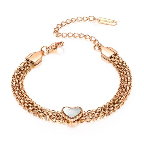 Best Selling European and American Fashion Stainless Steel Heart Bracelet Multi-Layer Titanium Steel Women Love Bracelet Gb1041
