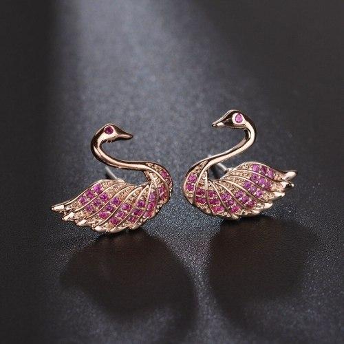 New Earring Stud 925 Sterling Silver Needle AAA Zircon Red Corundum Ear Stud Cartoon Goose Delicate Earrings qx1060