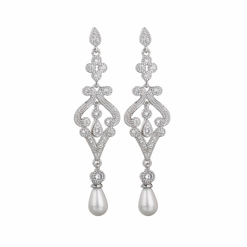 European and American Fashion Gorgeous Long Pearl Ear Stud 3A Zircon Inlaid Elegant Pearl Ear Pendant Qx1248