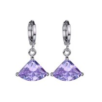 Fan-Shaped Violet AAA Zircon Earrings Ear Pendant Rhinestone Geometric Simple Fashion CC Earrings Qx013