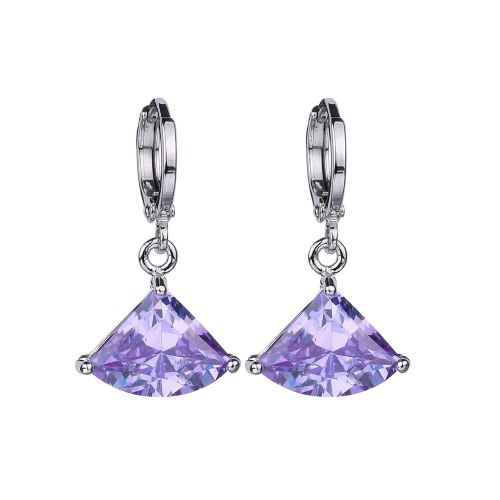 Fan-Shaped Violet AAA Zircon Earrings Ear Pendant Rhinestone Geometric Simple Fashion CC Earrings Qx013