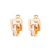 Factory Direct Korean-Style Elegant Titanium Steel Ear Stud All-match Square Earrings Simple Women's Ear Stud Gb592