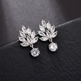 Korean Simple Fashion 16K Gold Earring Stud AAA Zircon Inlaid S 925 Sterling Silver Pin Earrings for Women Qx1331