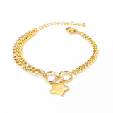 Fashion Cool Star Crown Double Ring Buckle Women Titanium Steel Bracelet Fashion Jewelry Women Girl Gift Gb1074